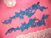 "Embroidered Lace Appliques Turquoise Floral Venice Lace Mirror Pair 14"" (DH82X)"