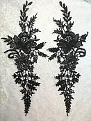 "Embroidered Lace Appliques Black Romantic Rose Floral Venice Lace Mirror Pair 16"" (DH83X)"