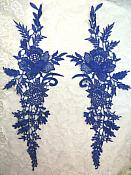"Embroidered Lace Appliques Blue Romantic Rose Floral Venice Lace Mirror Pair 16"" (DH83X)"