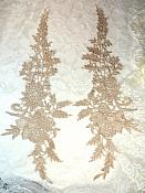 """Embroidered Lace Appliques Champagne Romantic Rose Floral Venice Lace Mirror Pair 16"""" (DH83X)"""