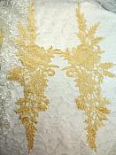 "Embroidered Lace Appliques Gold Romantic Rose Floral Venice Lace Mirror Pair 16"" (DH83X)"