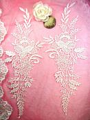 "Embroidered Lace Appliques Ivory Romantic Rose Floral Venice Lace Mirror Pair 16"" (DH83X)"