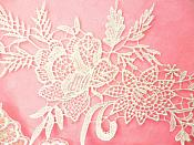 """Embroidered Lace Appliques Ivory Romantic Rose Floral Venice Lace Mirror Pair 16"""" (DH83X)"""
