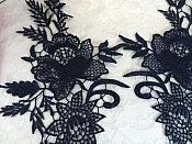 """Embroidered Lace Appliques Navy Romantic Rose Floral Venice Lace Mirror Pair 16"""" (DH83X)"""