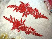"Embroidered Lace Appliques Red Romantic Rose Floral Venice Lace Mirror Pair 16"" (DH83X)"