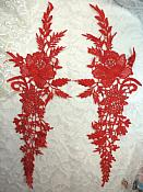 """Embroidered Lace Appliques Red Romantic Rose Floral Venice Lace Mirror Pair 16"""" (DH83X)"""