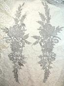 """Embroidered Lace Appliques Silver Romantic Rose Floral Venice Lace Mirror Pair 16"""" (DH83X)"""