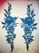 """Embroidered Lace Appliques Turquoise Romantic Rose Floral Venice Lace Mirror Pair 16"""" (DH83X)"""
