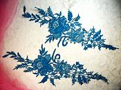 "Embroidered Lace Appliques Turquoise Romantic Rose Floral Venice Lace Mirror Pair 16"" (DH83X)"