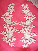 """Romantic Roses Embroidered Lace Appliques White Floral Venice Lace Mirror Pair 13"""" (DH84X)"""