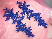 "Romantic Roses Embroidered Lace Appliques Blue Floral Venice Lace Mirror Pair 13"" (DH84X)"
