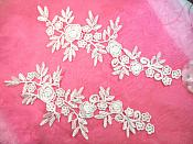"""RMDH84X REDUCED Romantic Roses Embroidered Lace Appliques Ivory Floral Venice Lace Mirror Pair 13"""" (DH84X)"""