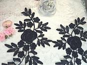 """Romantic Roses Embroidered Lace Appliques Navy Floral Venice Lace Mirror Pair 13"""" (DH84X)"""