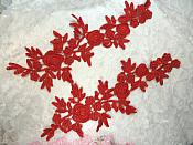 """Romantic Roses Embroidered Lace Appliques Red Floral Venice Lace Mirror Pair 13"""" (DH84X)"""