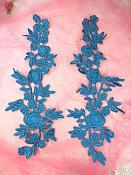 """Romantic Roses Embroidered Lace Appliques Turquoise Floral Venice Lace Mirror Pair 13"""" (DH84X)"""