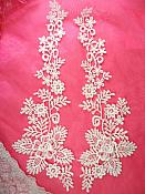 """Embroidered Lace Appliques White Floral Venice Lace Mirror Pair 15"""" (DH85X)"""
