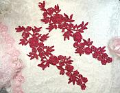 """Romantic Roses Embroidered Lace Appliques Wine Floral Venice Lace Mirror Pair 13"""" (DH84X)"""