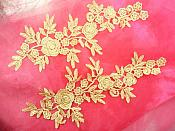 "Romantic Roses Embroidered Lace Appliques Gold Floral Venice Lace Mirror Pair 13"" (DH84X)"