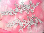 """Romantic Roses Embroidered Lace Appliques Silver Floral Venice Lace Mirror Pair 13"""" (DH84X)"""