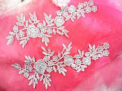 "Romantic Roses Embroidered Lace Appliques Silver Floral Venice Lace Mirror Pair 13"" (DH84X)"