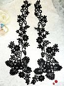 "Lace Appliques Black Floral Vine Embroidered Mirror Pair Costume Motifs 15"" (DH85X)"