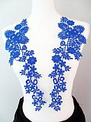 "Lace Appliques Blue Floral Vine Embroidered Mirror Pair Costume Motifs 15"" (DH85X)"