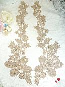 "Lace Appliques Champagne Floral Vine Embroidered Mirror Pair Costume Motifs 15"" (DH85X)"