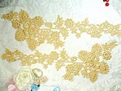 """Lace Appliques Gold Floral Vine Embroidered Mirror Pair Costume Motifs 15"""" (DH85X)"""