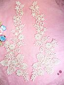 """Lace Appliques Ivory Floral Vine Embroidered Mirror Pair Costume Motifs 15"""" (DH85X)"""