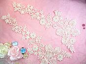 "Lace Appliques Ivory Floral Vine Embroidered Mirror Pair Costume Motifs 15"" (DH85X)"