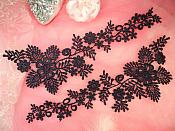 """Lace Appliques Navy Blue Floral Vine Embroidered Mirror Pair Costume Motifs 15"""" (DH85X)"""