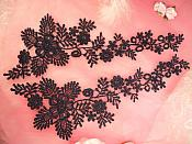 "Lace Appliques Navy Blue Floral Vine Embroidered Mirror Pair Costume Motifs 15"" (DH85X)"