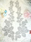 "Lace Appliques Silver Floral Vine Embroidered Mirror Pair Costume Motifs 15"" (DH85X)"