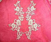 "Embroidered Lace Appliques White Anitque Floral Venice Lace Mirror Pair Motifs 11"" (DH100X)"