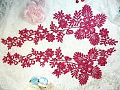 """Lace Appliques Wine Floral Vine Embroidered Mirror Pair Costume Motifs 15"""" (DH85X)"""
