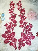 "Lace Appliques Wine Floral Vine Embroidered Mirror Pair Costume Motifs 15"" (DH85X)"