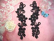 "Embroidered Lace Appliques Black Floral Venice Lace Mirror Pair 9.5"" (DH86X)"