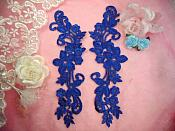 "Embroidered Lace Appliques Blue Floral Venice Lace Mirror Pair 9.5"" (DH86X)"