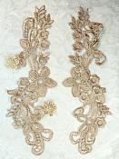 "Embroidered Lace Appliques Champagne Floral Venice Lace Mirror Pair 9.5"" (DH86X)"