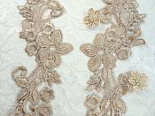 """Embroidered Lace Appliques Champagne Floral Venice Lace Mirror Pair 9.5"""" (DH86X)"""