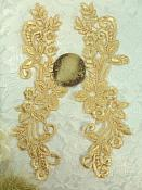 "Embroidered Lace Appliques Gold Floral Venice Lace Mirror Pair 9.5"" (DH86X)"