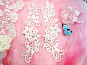 "Embroidered Lace Appliques Ivory Floral Venice Lace Mirror Pair 9.5"" (DH86X)"