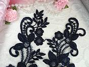 """Embroidered Lace Appliques Navy Floral Venice Lace Mirror Pair 9.5"""" (DH86X)"""