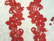 """Embroidered Lace Appliques Red Floral Venice Lace Mirror Pair 9.5"""" (DH86X)"""