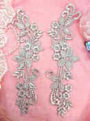 """Embroidered Lace Appliques Silver Floral Venice Lace Mirror Pair 9.5"""" (DH86X)"""