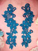 """Embroidered Lace Appliques Turquoise Floral Venice Lace Mirror Pair 9.5"""" (DH86X)"""