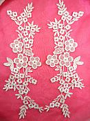 "Shimmering White Floral Embroidered Lace Appliques Venice Lace Mirror Pair 14"" (DH89X)"