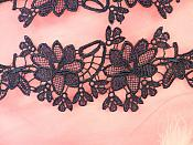 """Appliques Embroidered Lace Navy Blue Floral Flower Mirror Pair Motifs 10"""" (DH87X)"""