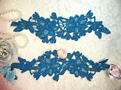 """Appliques Embroidered Lace Turquoise Floral Flower Mirror Pair Motifs 10"""" (DH87X)"""