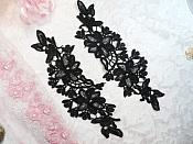 """Embroidered Lace Appliques Black Floral Venice Lace Mirror Pair 10"""" (DH87X)"""